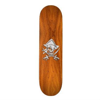 Chrome Silver Pirate on Teak Veneer Decor Skateboard Deck