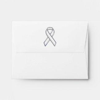 Chrome Silver Print Belted White Ribbon Awareness Envelope
