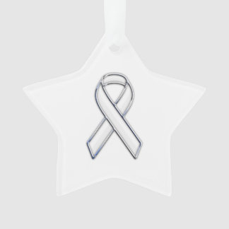 Chrome Silver Print Belted White Ribbon Awareness Ornament
