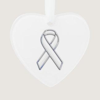 Chrome Silver Print Belted White Ribbon Awareness Ornament
