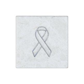 Chrome Silver Print Belted White Ribbon Awareness Stone Magnet