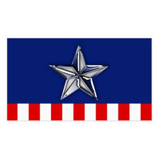 Chrome Silver Star on Festive Patriotic Colors Double-Sided Standard Business Cards (Pack Of 100)