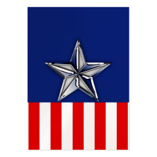 Chrome Silver Star on Festive Patriotic Colors Large Business Cards (Pack Of 100)