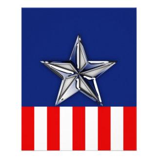 Chrome Silver Star on Festive Patriotic Colors Flyer