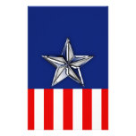 Chrome Silver Star on Festive Patriotic Colors Flyer Design