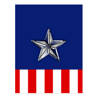 Chrome Silver Star on Festive Patriotic Colors Postcards