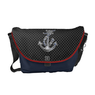 Chrome Silver Style Rope Anchor on Carbon Fiber Courier Bag