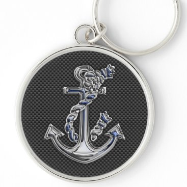 Aztec Themed Chrome Silver Style Rope Anchor on Carbon Fiber Keychain