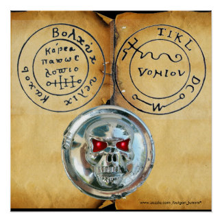 CHROME SKULL AND ANTIQUE PIRATES TREASURE MAP POSTER