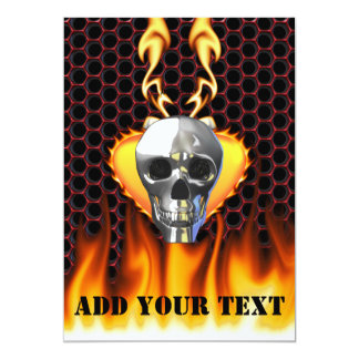 Chrome Skull and candy apple red honeycomb 5x7 Paper Invitation Card