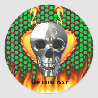 Chrome Skull and candy apple red honeycomb Classic Round Sticker