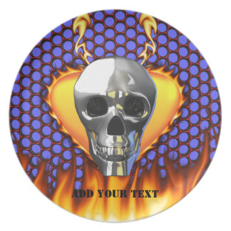 Chrome Skull and candy apple red honeycomb Dinner Plate