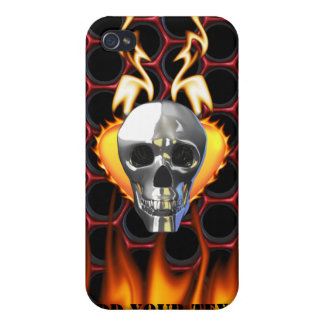 Chrome Skull and candy apple red honeycomb Case For iPhone 4