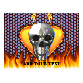 Chrome Skull and candy apple red honeycomb Postcard