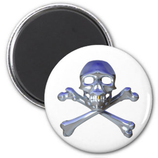 Chrome skull and crossbones 2 inch round magnet