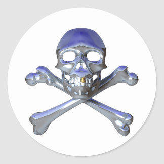 Chrome skull and crossbones classic round sticker