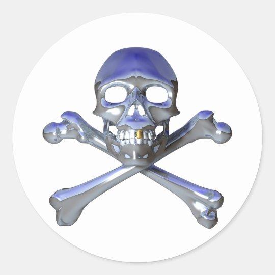 Chrome skull and crossbones classic round sticker
