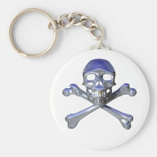 Chrome skull and crossbones keychain