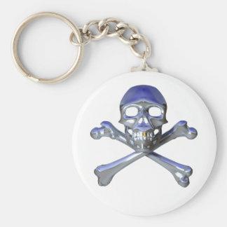 Chrome skull and crossbones keychains