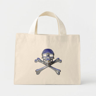Chrome skull and crossbones mini tote bag