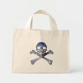 Chrome skull and crossbones mini tote bag