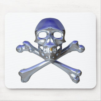 Chrome skull and crossbones mouse pad