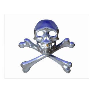 Chrome skull and crossbones postcard