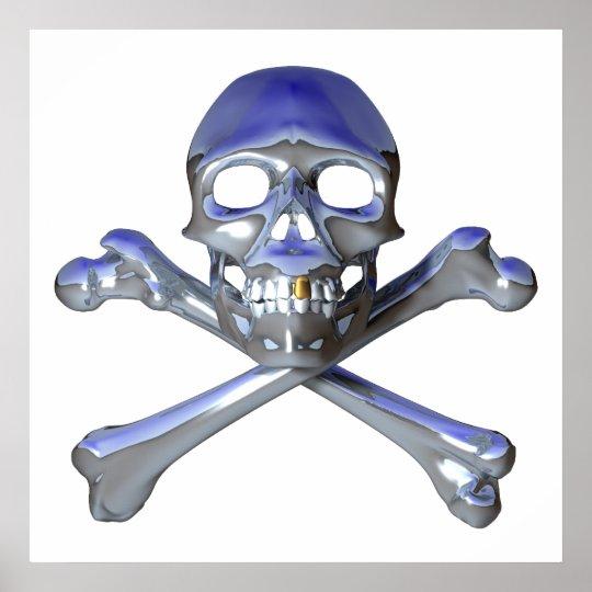 Chrome skull and crossbones poster
