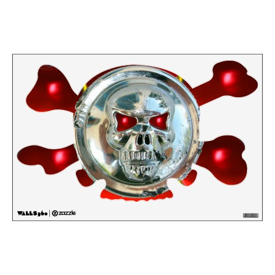 CHROME SKULL AND CROSSBONES  / Red Ruby Wall Sticker