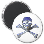 Chrome skull and crossbones refrigerator magnets