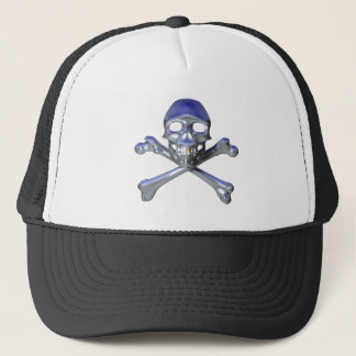 Chrome skull and crossbones trucker hat