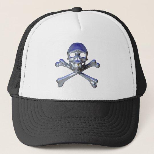Chrome skull and crossbones trucker hat