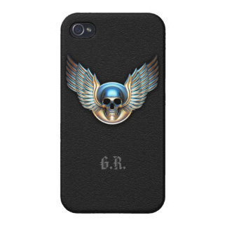 Chrome skull and Wings iPhone 4 Case