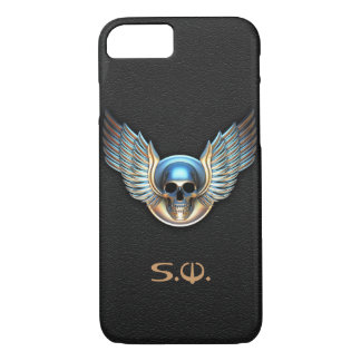Chrome skull and Wings iPhone 7 Case