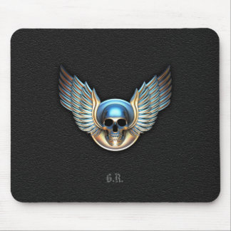 Chrome skull and Wings Mouse Pad