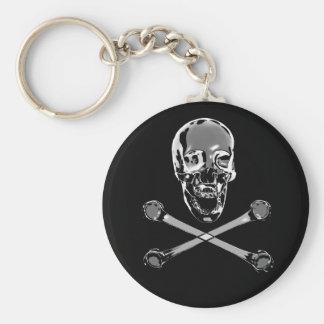 Chrome Skull Basic Round Button Keychain