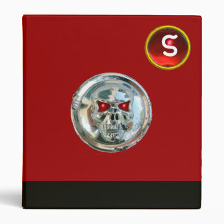 CHROME SKULL  BLACK AND RED RUBY MONOGRAM BINDER