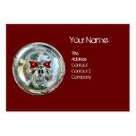 CHROME SKULL BLACK AND RED RUBY MONOGRAM BUSINESS CARD