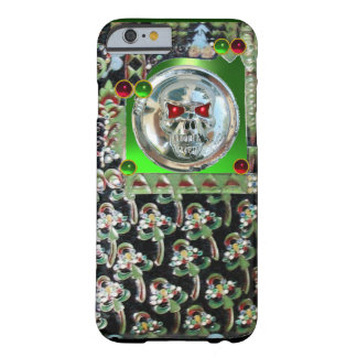 CHROME SKULL , BLACK GREEN RED EMERALD GEM STONES BARELY THERE iPhone 6 CASE