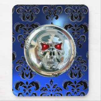 CHROME SKULL ,Damask, Blue Sapphire Mouse Pad