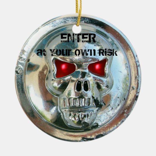 CHROME SKULL DAMASK DOOR HANGER CERAMIC ORNAMENT