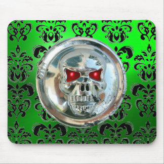CHROME SKULL ,Damask, Green Emerald Mouse Pad