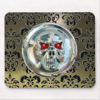 CHROME SKULL ,Damask, Grey  Agate Mouse Pad