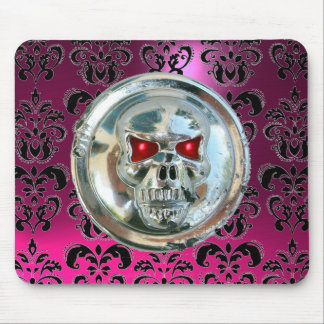 CHROME SKULL ,Damask, Pink Amethyst Mouse Pad