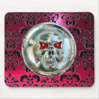 CHROME SKULL ,Damask, Pink Red Ruby Mouse Pad