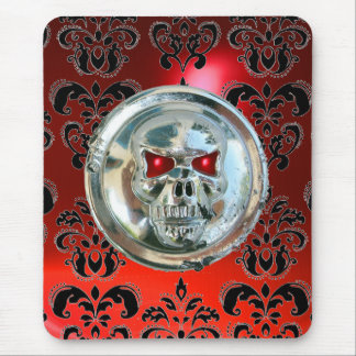 CHROME SKULL ,Damask, Red Ruby Mouse Pad