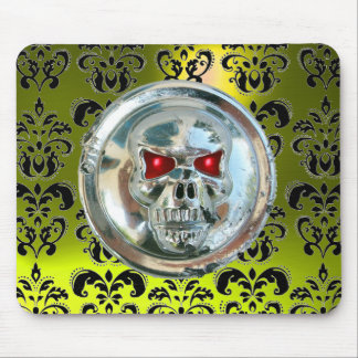 CHROME SKULL ,Damask, Yellow Topaz Mouse Pad