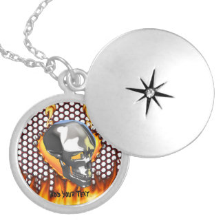 Chrome skull design 1 with fire round locket necklace