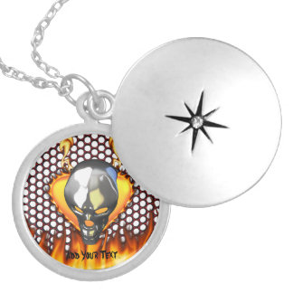 Chrome skull design 2 with fire round locket necklace