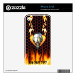 Chrome skull design 3 with fire decal for the iPhone 4